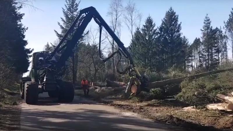 Video af skovningsopgave med John Deere 1470E Brdr Willemoes Skovservice